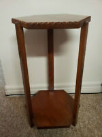 Vintage Wood Hexagonal Small SideTable/Plant Stand