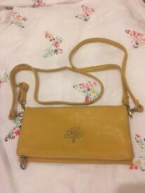 Mustard leather clutch satchel bag