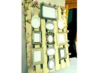 Floral wedding table seating plan frames pallet