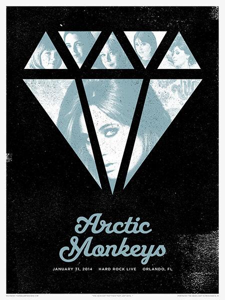 Arctic Monkeys Poster 2/31/2014 Hard Rock Live Orlando FL Signed & Numbered #/25