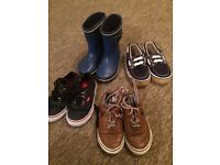 Boys vans next shoes and wellies size 4