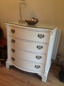 Vintage Shabby Chic Serpentine chest of drawers Free local delivery