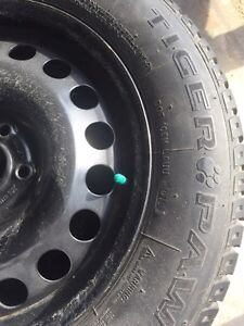 Snow tires with tire cart  Kitchener / Waterloo Kitchener Area image 3