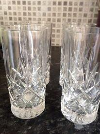 Glasses Drinking Tall, Cut Glass Pattern x 6