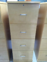 4 Drawer Maple Finish Filing Cabinet