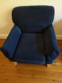 Large blue fabric armchair - good condition