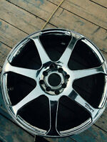 "17"" chrome rims WITH TIRES & shallow lugnut kit"