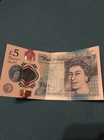 New Five pound note (AA03 260762)
