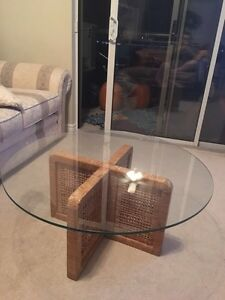 Wicker Glass Coffee table