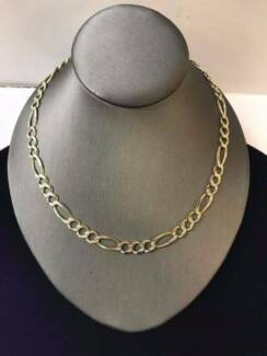 MENS 14CT YELLOW GOLD 3-1 FIGARO LINK NECKLACE