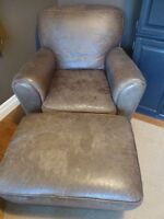 Distressed leather chair and ottoman
