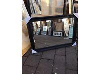 "large black wooden swept framed mirror 46""x36"""