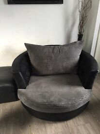 Swivel, 2 large 3 seaters and a footstool