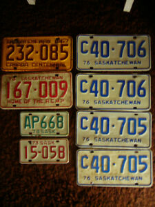 Old Saskatchewan License Plates