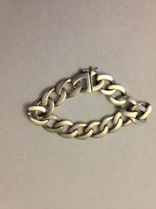 "Women's 7"" Tiffany Style Sterling Silver Chunky Chain Bracelet"