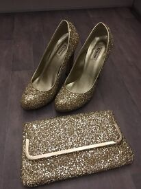 **REDUCED!!!** Champagne Glitter Heels & matching Clutch