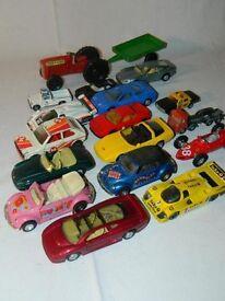 Maisto's and Corgi cars including racing cars.