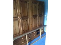 Solid pine double wardrobe with 6 draws