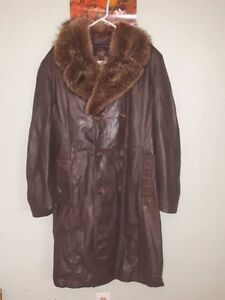 Mens XL/Sz44 Real Leather Jacket With Real Fox Fur Winter