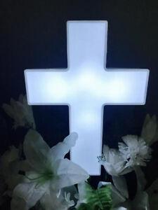 Solar Lighted Cross by Eternal Light Memorial Light for Grave or Garden