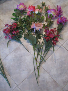 TWO CLUSTERS of COLORFUL ARTIFICIAL FLOWERS