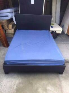 Nice black color leather double size bed frame + mattress , can d