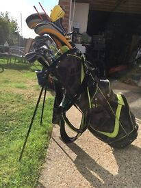 Ping G25 maroon spot, ping putter, MD woods, Ogio golf bag, and accessories