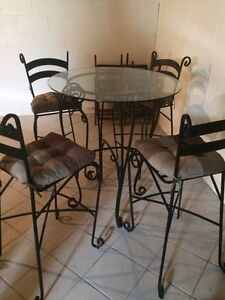 Bar table with high chairs