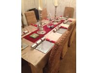 Limed oak solid table and 8 chairs £3000 new