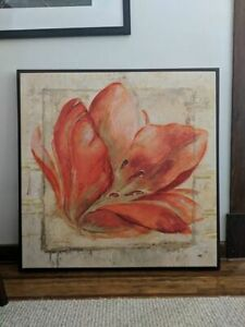 Flower canvas print on wooden picture frame - HomeSense