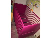 Bright pink cot