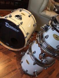 White Premier Artist Maple Drum Kit with cases! £500 ONO