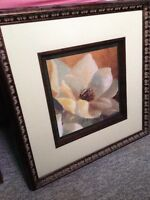 Floral print with wooden frame