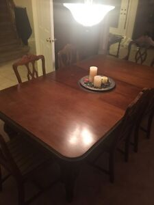 Walnut dining table, hutch and China cabinet