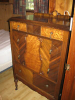 Antique chest of drawers and Headboard & Foorboard