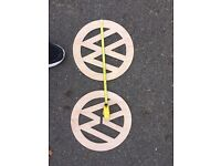 Two Volkswagen logos made out of 6mm ply. (Transporter, beetle, caddy)