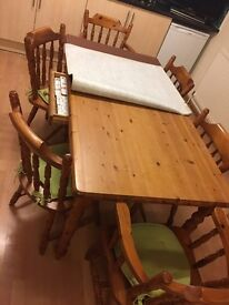 Pine 6 seater dining room table and chairs