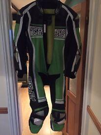 Arlen Ness Race leathers- Kawasaki Green - kangaroo hide