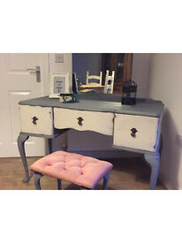 Solid upcycled retro/chic dressing table set in chalk anthracite/grey finish
