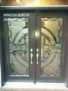 Stained Entry Glass Entrance Door  Supply Install