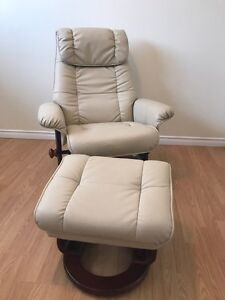 Beige Leather Swivel Chair with Matching Stool