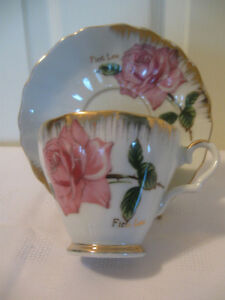 "SPECIAL BONE CHINA CUP & SAUCER for your ""FIRST LOVE"" [stamped]"