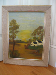 "CHARMING OLD VINTAGE [ '50's] OIL PAINTING ""PEACE in the VALLEY"""