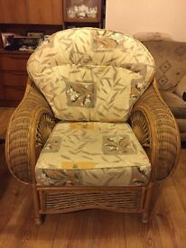 Cushioned wicker conservatory chair