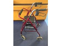 4 Wheeled mobility walker by Roma with seat & space for shopping. Light weight, VGC, Brakes.