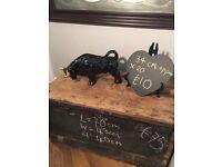 Vintage antique bull turo Taurus star sign decorators prop animal ceramic ornament