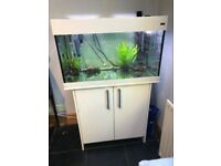 135 ltr Aqua One fish tank on cabinet with accessories
