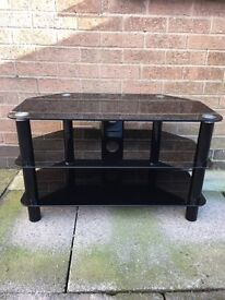 3 tier Black Tempered Glass Corner TV Stand
