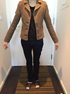 Aritzia Talula Brown Tweed Blazer Jacket XS