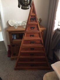Sheesham Indian wood triangle drawers